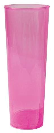 TELEVASO - 50 Unidades - Vaso Tubo 300 ml Reutilizable Ligero- Polipropileno (PP) - Color Rosa - Vaso ecológico Libre de BPA, Ideal para Cerveza, cubatas, Agua