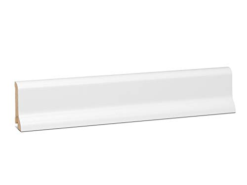 KGM Sockelleiste Waldberger – Fußbodenleiste aus Fichte Massivholz – Starkfolie weiß – Maße: 2500 x 20 x 60 mm – 1 Stück