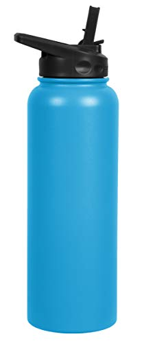 FIFTY/FIFTY 40oz, Double Wall Vacuum Insulated Sport Water Bottle, Stainless Steel, Straw Cap w/Wide Mouth, Crater Blue, 40oz/1.1L