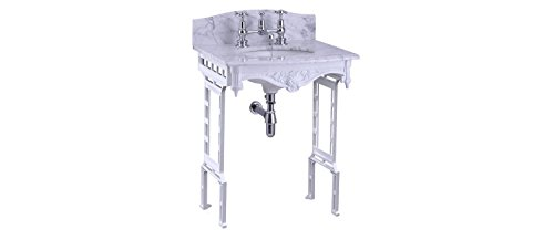 Burlington (Carrera Marmor Top & Waschtisch Waschbecken mit Aluminium poliert