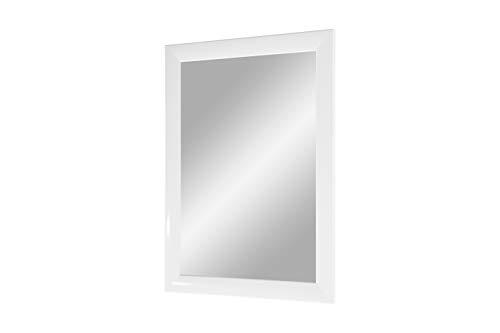 Trend 35 - Wandspiegel 70x100 cm mit Rahmen (Weiss hochglanz), Spiegel nach Maß mit 35 mm breiter MDF-Holzleiste - Maßgefertigter Spiegelrahmen inkl. Spiegel und stabiler Rückwand mit Aufhängern