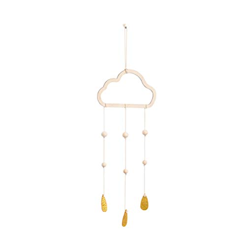 LIOOBO Holz Hängedeko Baby Mobile Wolken Perlen Goldene Regentropfen Hängende Bilderrahmen Decke Hängen Kinderzimmer Dekoration