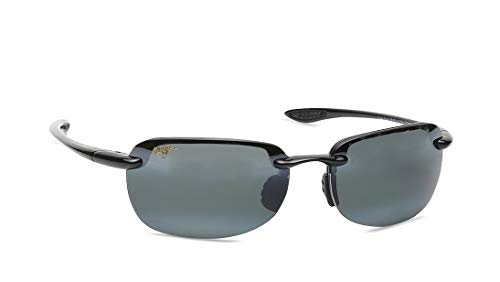 Maui Jim Sunglasses | Sandy Beach 408-02 | Polarized Rimless, Gloss Black, with Patented PolarizedPlus2 Lens Technology