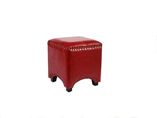 QXX American Shoes Bench Solid Wood Sofa Stool Footstool Leather Stool Bed End Stool Makeup Stool 403535cm (Color : Red)