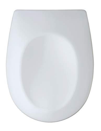 Asiento de Inodoro WENKO con Cierre Suave Varoni, Tapa de Inodoro, Asiento de Inodoro, Clip para una fijación higiénica, fácil Montaje, Cierre Suave, Duroplast, Ovalado, Blanco