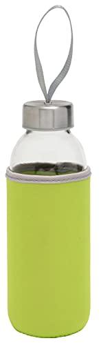 TOPICO Take Well Botella, Cristal, SBR, Acero Inoxidable, Verde, translúcido