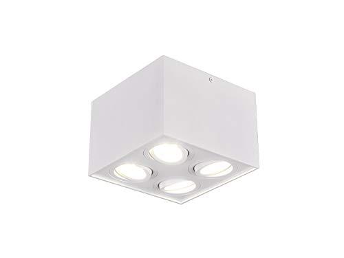 Trio - Lampada da soffitto a Forma di cubo, con LED e Quattro faretti orientabili, Colore: Bianco Opaco