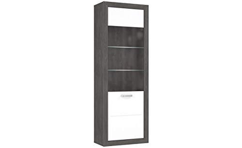 Furniture24 Vitrine Lennox New MRYV711L, Standvitrine, Wohnzimmerschrank, Vitrinenschrank mit 1 Tür, Betonoptik mit Weiß Hochglanz (Mit Beleuchtung)