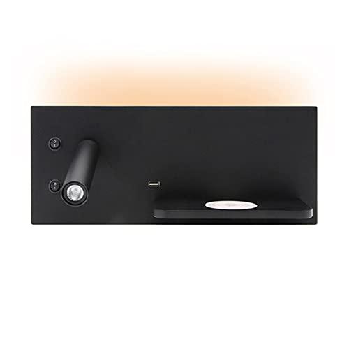 VOMI Lámpara de Pared con Interruptor, Cargador Inalámbrico y Conexión USB, Foco de Pared Ajustable Iluminación de Pared Máx.11W (3W Lámpara de Lectura y 8W Luz Ambiental), 3000K, Negro, Izquierda