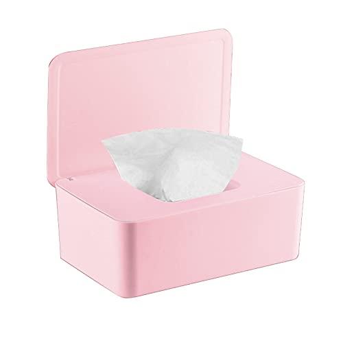 YOUYIKE Caja para Toallitas, 18.5 x 12.2 x 7 cm Dispensador de Toallitas Húmedas, Caja de Pañuelos con Tapas, Caja de Almacenamiento de Pañuelos a Prueba de Polvo para Oficina en Casa (Rosa)