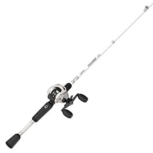 Quantum Accurist Baitcast Reel and Fishing Rod Combo, 7-Foot 1-Piece All-Purpose IM7 Graphite Fishing Pole with ComfortGrip Rod Handle, One-Piece Aluminum Frame, Right-Hand Retrieve, White