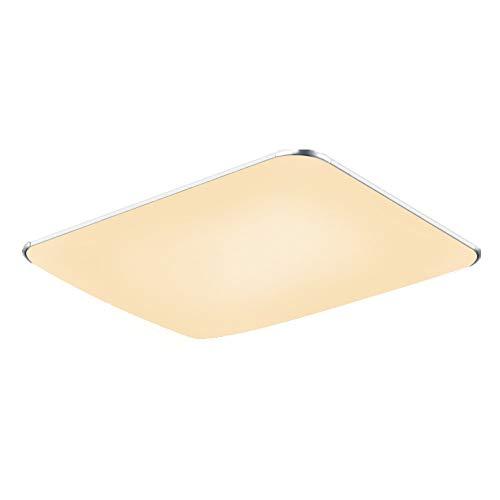 Fscm 48W LED Deckenleuchte Lampe Modern Deckenlampe Deckenleuchten für Bad Schlafzimmer Küche Balkon Korridor Büro, PVC Abdeckung Alu Rahmen Platz 650x430x100mm, 2800-3500K Warmweiß IP44