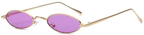 J&L Glasses Mode Retro ovale Sonnenbrille für Metallrahmen Shades Brillen Katzenauge Metall Rand Rahmen Frau Mode Sonnebrille Unisex Modische Gespiegelte Linse Sunglasses (Gold,purple)