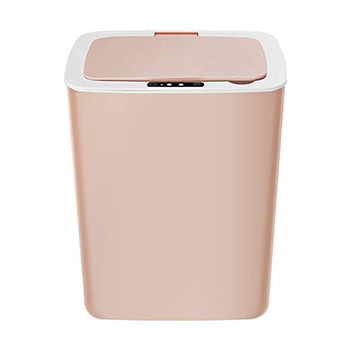 A-hyt Cubo de basura de inducción con cabeza nivelada de carga de 14 litros para el hogar, con sensor de movimiento infrarrojo, robotlike Touchless Waste Bin (color: rosa, tamaño: mediano)