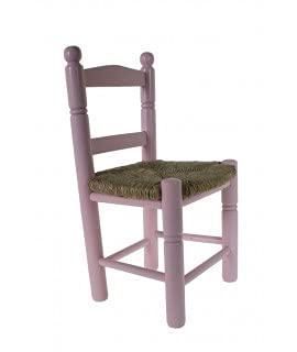 CAL FUSTER -Silla Infantil de Madera y Asiento de anea Color Rosa decoración habitación niño niña y Regalo Original. Medidas: 53x30x27 cm.