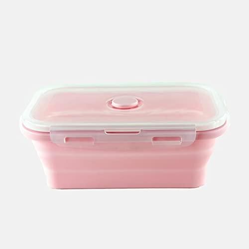 JINTD Almuerzo Bento Cajas, Almacenamiento de Alimentos Contenedor Bento Libre Microondávete Picnic Camping rectángulo al Aire Libre (Color : Pink, Lunch Box Capacity : 800ml)