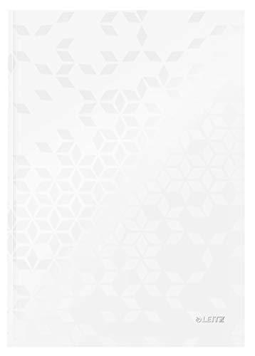 Leitz WOW Notizbuch in A4 Format mit 80 Blatt, Kariert, Elfenbeinfarbiges Papier (90 g/m2), Fester Einband, Perlweiß, WOW, 46261001