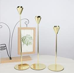 LINGSFIRE Gold Candlestick Holder Taper Candle Outlet SALE Set of Holders New popularity 3