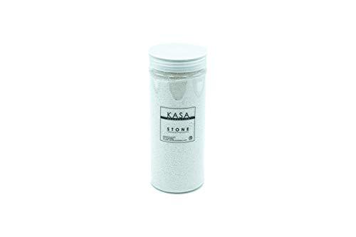 KASA DECORATION Sable coloré pailleté blanc pour décorations 1120 g, 11 couleurs décoratives en pots rigides avec bouchon à vis, fin 0,2 – 0,6 mm, idéal pour vos idées décoratives.