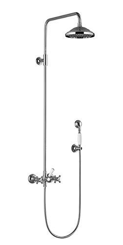Dornbracht Madison Showerpipe mit Brausebatterie, ohne Handbrause, Ausladung Standbrause 420 mm, Farbe: Platin Matt - 26632360-06