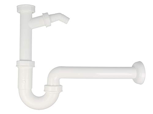 tecuro Kunststoff Röhren-Geruchsverschluss mit Geräteanschluss, für Waschtisch