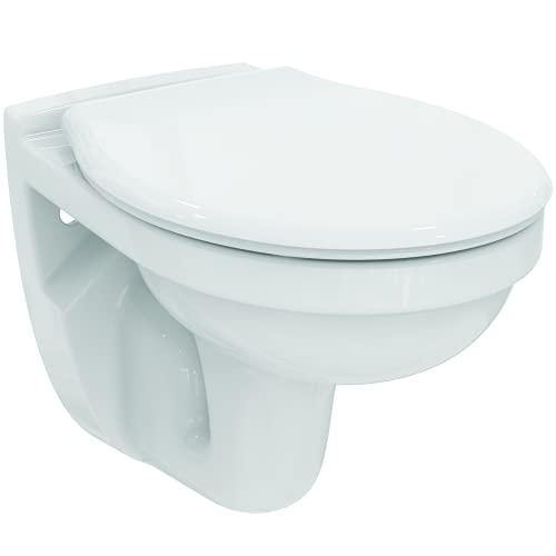 Ideal Standard Pack wc suspendu Astor 2 Cuvette wc avec Bride et Abattant Blanc Résistant Hygiéne Confort Installation Facile...