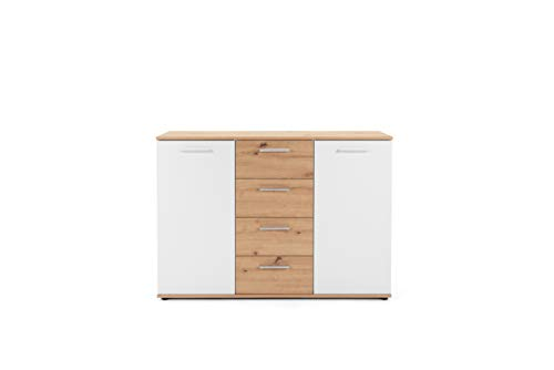 Preisvergleich Produktbild Finori Kommode,  Spanplatte,  Artisan / Weiß,  B / H / T: 120 x 85 x 35 cm