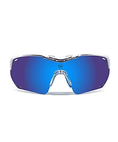 EPIKGLASSES Gafas de Ciclismo, Gafas de Sol Deportivas, Vista Panorámica POLARIZADA protección Ultravioleta UV400 REVO categoria.3, Segunda Lente POLARIZADO Cat.1. Marco Flexible Material TR9.