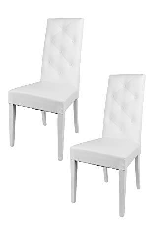Tommychairs - Set 2 sillas Chantal para Cocina, Comedor, Bar y Restaurante, solida Estructura en Madera de Haya y Asiento tapizado en Polipiel Blanco