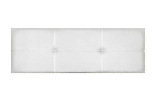Cabecero de Cama Modelo Paris, en Doble Costura y tapizado en Polipiel Ahazar. Altura 50cm. Pro Elite. Color Blanco. para Cama de 160 (Medidas 170x50x5) Pro Elite.