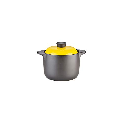 Kitchen Stoneware Cooking Pot Tureen Soup Casserole Dish with Lid, Chinese Soup/Clay/Earthen Pot with Double Handle and Yellow Lid, Ceramic Cookware, Round Black (4 Liter)