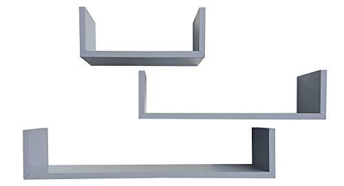 juego de 3 estanterias de pared fabricado en madera de pino alistonado acabado en gris ceniza