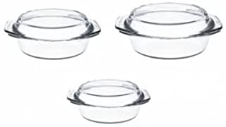 Simax Round Glass Casserole Baking Dishes   With Lids - Borosilicate Glass - Made In Europe - Set of 3 Clear Glass Baking ...