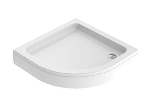 'aquaSu® 80068 6 Acryl - Duschwanne simPata round, Viertelkreis-Brausewanne, 90 x 90 cm, inklusive Schürze und Wannenfuß, weiß