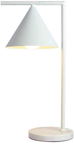 FMOGE 350&Deg; Rotatable Plug In Table Lamp Nordic Minimalist Marble Desk Lamp E27 Art Deco Lighting Bedroom Bedside Study Table College Student Dormitory Wrought Iron Reading Light