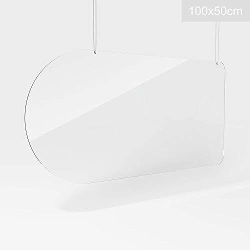 Plexiglaswand, Schutzscheibe, Trennwand, Plexiglas-Schutz, Plexiglasscheibe, Plexiglas Schutzwand 100 x 50 cm, hängend, halbrund