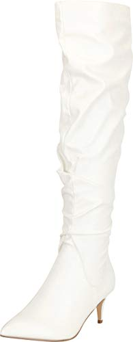 Cambridge Select Damen Stiefel mit spitzem Zehenbereich, gerüscht, mittelhoher Absatz, kniehoch, Weiá (Weiß - White Pu), 37 EU