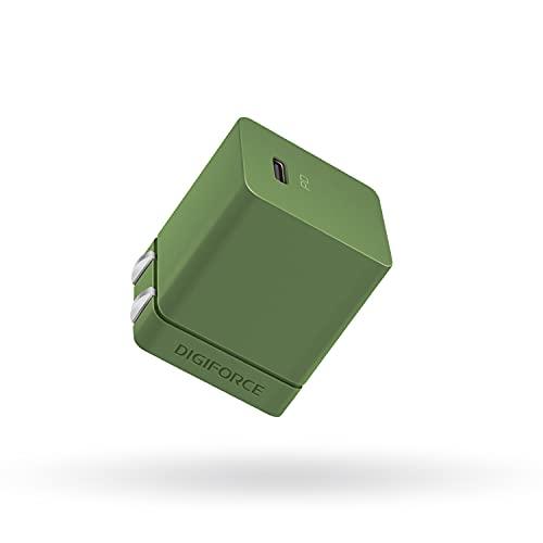 DIGIFORCE for iPhone13 充電器 20W PD 充電器 Type-C 超小型 急速充電 USB-C タイプc 充電器 【PSE認証済/PD&QC3.0対応】 折畳式 for iPhone 12 Android その他 各種機器対応 acアダプター (オリーブグリーン)