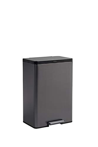 Rubbermaid Stainless Steel Metal Step-On Trash Can for Home and Kitchen, Charcoal, 12 Gallon, 2112520