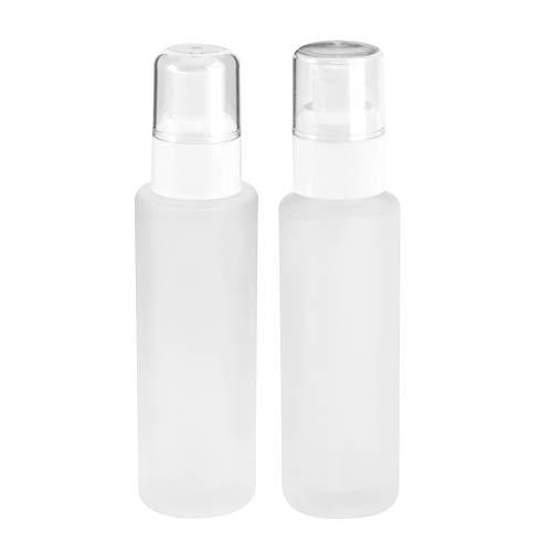 FRCOLOR 2Pcs Botella de Bomba sin Aire Recargable Vidrio Vacío Contenedor de...