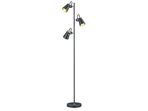 Moderne led-vloerlamp in mat zwart met 3 spots variabel draaibaar, 160 cm hoog - unieke lichtambiance in een elegant design