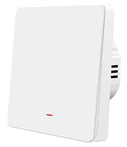 Interruptor de luz de pared con WiFi, Smart Wireless Switch, mando a distancia, función de temporizador, compatible con Alexa (1 velocidad)