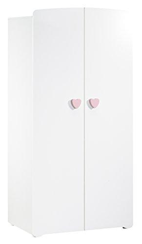 BABY PRICE New Basic Armoire Chambre Bébé 2 Portes avec Bouton Cœur Rose