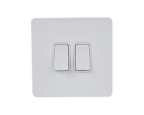 Schneider Electric GU1422WPW interruptor eléctrico Rocker switch Blanco - Accesorio cuchillo eléctrico (Rocker switch, Blanco, Acero, IP20, 16 A, 88 mm)