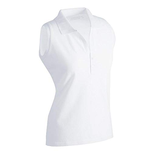 Ladies Elastic Polo Sleeveless - Damen Kurzarm Polo, Größen:M;Farbe:white