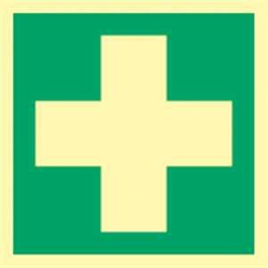Schild Erste Hilfe Kunststoff langnachleuchtend gem. ASR/BGV/DIN 20x20 cm (Rettungsschild, Hinweisschild) praxisbewährt, wetterfest