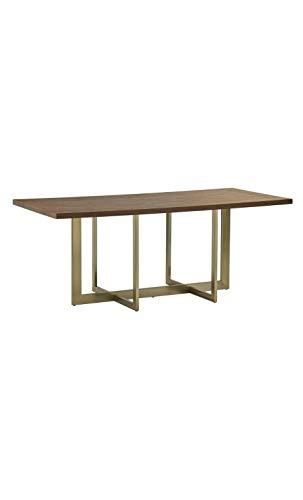 CAMINO A CASA - Table à Manger Plateau Bois Pieds dorés Grandiose
