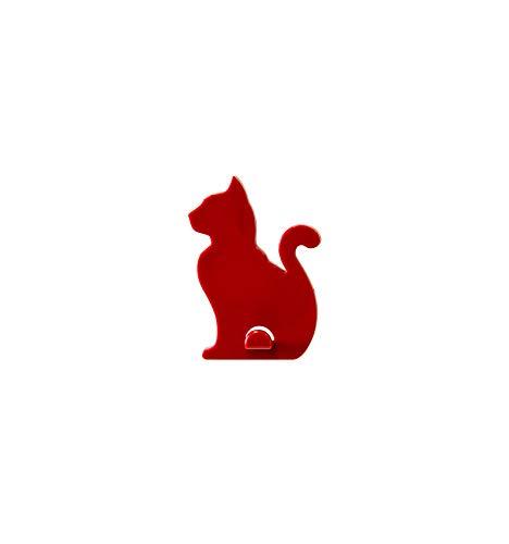 KalaMitica Katze-Design Magnetische Aufhänger, ABS-Harz, Rot, 7x5,1 cm