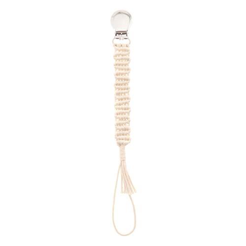 ZOOMY Vintage Geflochtene Baumwolle Schnullerkette Schnullerclips Baby Schnuller Haltergurte für Jungen und Mädchen Modern Unisex - Beige-10