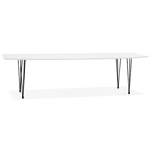 Alterego Table à dîner Design Extensible 'HUSKI' Blanche avec Pieds Noirs Style Industriel - 170(270) x100 cm